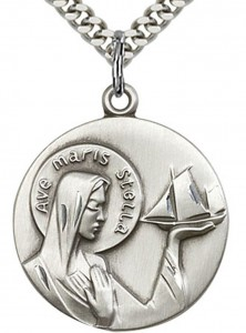 Our Lady Star of the Sea Medal, Sterling Silver [BL6110]