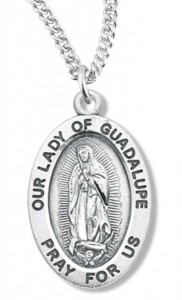 Women's Our Lady of Guadalupe Necklace, Sterling Silver with Chain Options [HMR0970]
