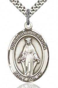 Our Lady of Lebanon Medal, Sterling Silver, Large [BL0360]