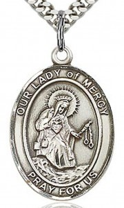Our Lady of Mercy Medal, Sterling Silver, Large [BL0387]