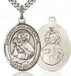 Our Lady of Mount Carmel Medal, Sterling Silver, Large [BL0396]