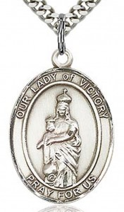 Our Lady of Victory Medal, Sterling Silver, Large [BL0477]