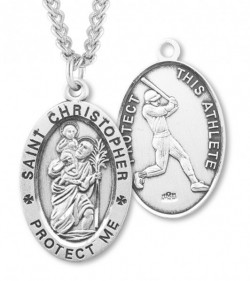 Men's Sterling Silver Saint Christopher Baseball Oval Necklace [HMS1017]