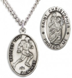 Oval Men's St. Christopher Football Necklace With Chain [HMS1016]