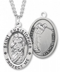 Oval Boy's St. Christopher Golf Necklace With Chain [HMS1019]