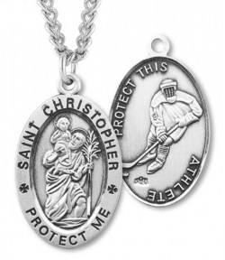 Oval Men's St. Christopher Ice Hockey Necklace With Chain [HMS1015]