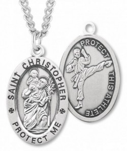 Oval Boy's St. Christopher Martial Arts Necklace With Chain [HMS1021]