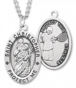 Oval Men's St. Christopher Tennis Necklace With Chain [HMS1020]