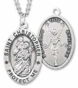 Oval Boy's St. Christopher Track Necklace With Chain [HMS1022]