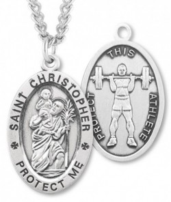 Oval Boy's St. Christopher Weight Lifting Necklace With Chain [HMS1024]