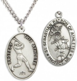 Oval Men's St. Sebastian Baseball Necklace With Chain [HMS1029]