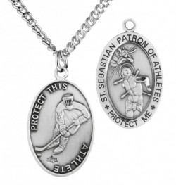 Oval Men's St. Sebastian Ice Hockey Necklace With Chain [HMS1027]