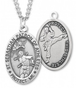 Oval Boy's St. Sebastian Martial Arts Necklace With Chain [HMS1033]