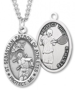 Oval Men's St. Sebastian Tennis Necklace With Chain [HMS1032]
