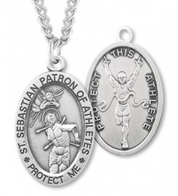 Oval Men's St. Sebastian Track Necklace With Chain [HMS1034]