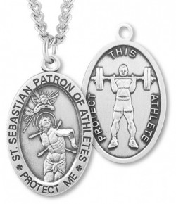 Oval Men's St. Sebastian Weight Lifting Necklace With Chain [HMS1036]