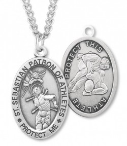 Oval Men's St. Sebastian Wrestling Necklace With Chain [HMS1035]