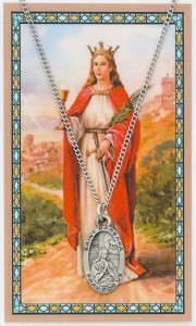 Oval St. Barbara Pewter Medal with Prayer Card [MPC0103]