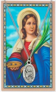 Oval St. Lucy Medal and Prayer Card Set [MPC0005]