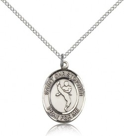 St. Christopher Martial Arts Medal, Sterling Silver, Medium [BL1303]