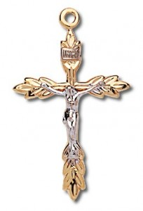 Women's 14kt Gold Over Sterling Silver Two-tone Wheat Sheaf Tip Crucifix + 18 Inch Gold Plated Brass Chain [HMR0489]