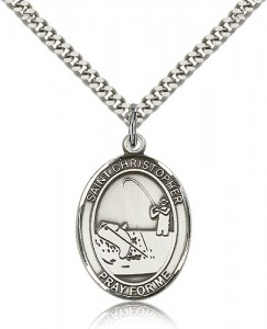 St. Christopher Fishing Medal, Sterling Silver, Large [BL1221]