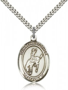 St. Christopher Rodeo Medal, Sterling Silver, Large [BL1376]
