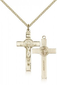 Women's 14 Karat Gold Filled St. Benedict Crucifix Pendant [BL4661]