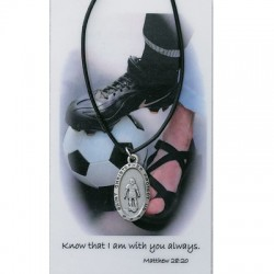 Girl's St. Christopher Soccer Medal with Leather Chain and Prayer Card Set [MPC0083]