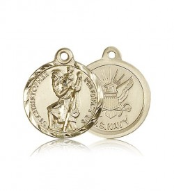 St. Christopher Navy Medal, 14 Karat Gold [BL4184]
