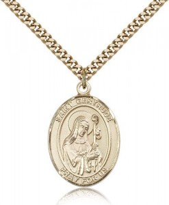 St. Gertrude of Nivelles Medal, Gold Filled, Large [BL1983]