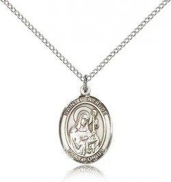 St. Gertrude of Nivelles Medal, Sterling Silver, Medium [BL1987]