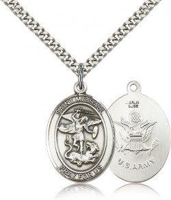 St. Michael Army Medal, Sterling Silver, Large [BL2874]