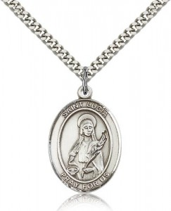 St. Lucia of Syracuse Medal, Sterling Silver, Large [BL2652]