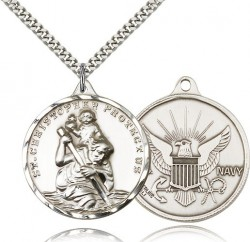 Large St. Christopher Navy Medal, Sterling Silver [BL4259]
