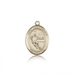 St. Christopher Hockey Medal, 14 Karat Gold, Medium [BL1264]