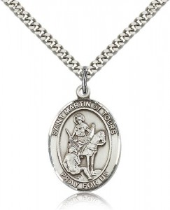 St. Martin of Tours Medal, Sterling Silver, Large [BL2792]