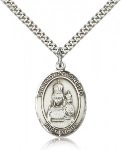 Our Lady of Loretto Medal, Sterling Silver, Large [BL0369]