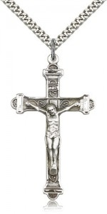 Men's Crucifix Pendant Antique Silver Accents Cross Bar Edges [BL4750]