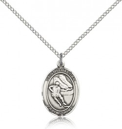 St. Sebastian Hockey Medal, Sterling Silver, Medium [BL3473]