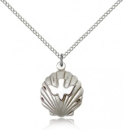 Shell Holy Spirit Medal, Sterling Silver [BL5168]