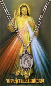 Oval Divine Mercy Medal and Prayer Card Set [MPC0073]