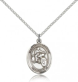 St. Christopher Motorcycle Medal, Sterling Silver, Medium [BL1341]