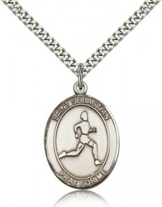 St. Sebastian Track and Field Medal, Sterling Silver, Large [BL3629]