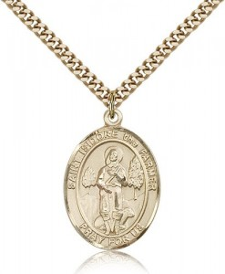 St. Isidore the Farmer Medal, Gold Filled, Large [BL2127]