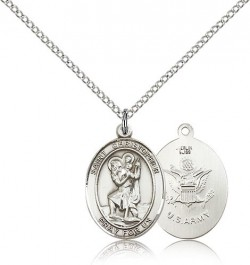 St. Christopher Army Medal, Sterling Silver, Medium [BL1142]