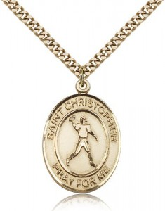 St. Christopher Football Medal, Gold Filled, Large [BL1229]