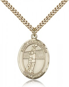 St. Christopher Volleyball Medal, Gold Filled, Large [BL1490]