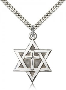 Men's Large Sterling Silver Star of David with Cross Pendant [BL5156]