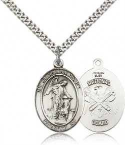 Guardian Angel National Guard Medal, Sterling Silver, Large [BL0138]
